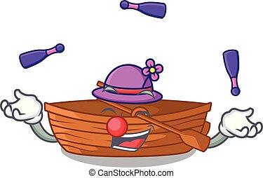 macot, houten, naast, juggling, strand, scheepje