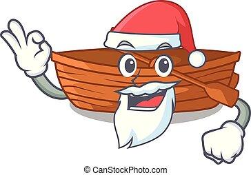 macot, houten, naast, kerstman, strand, scheepje