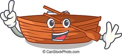 macot, houten, naast, vinger, strand, scheepje