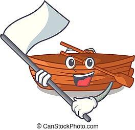 macot, houten, naast, vlag, strand, scheepje