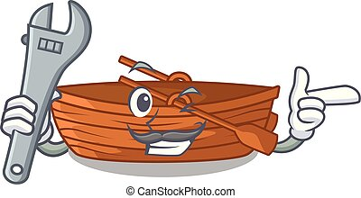 macot, houten, naast, werktuigkundige, strand, scheepje