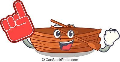 macot, houten, schuim, naast, vinger, strand, scheepje