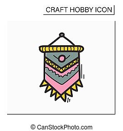 Macrame color hand draw icon