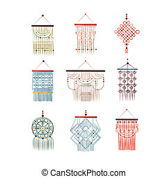 Macrame hangings set, elegant handmade home decorations made of cotton cord vector Illustration on a white background