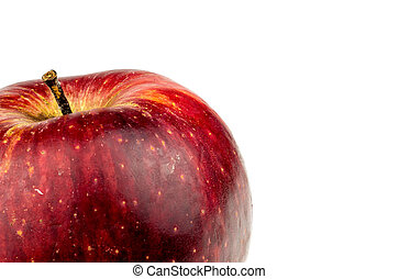 Macro background texture of ripe Australian apple isolated on wh