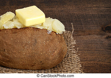 macro baked potato with butter