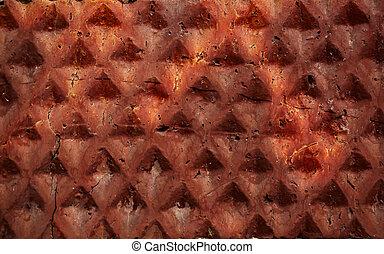 macro, baksteen muur, rood