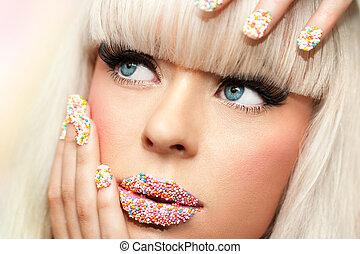 Extreme close up portrait of beauty fantasy make up.