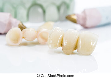 macro, blanc, prothétique, fond, dents