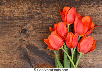 macro, bois, tulipes