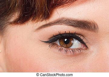 macro, bonito, olho feminino