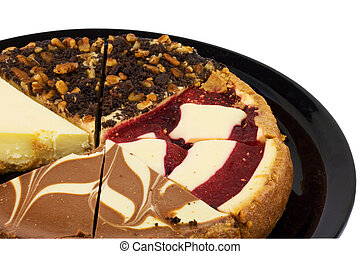 macro cheesecake sampler(4).jpg - closeup of 4 varieties of...