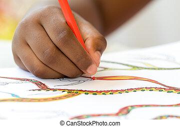 macro, cicatrizarse, de, mano, dibujo, en, paper.