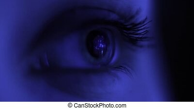 Macro Close-up eye blinking. Young Woman is opening and closing her beautiful eye. Internet Addiction Reflection Hacker