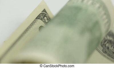 macro close-up of 100 dollar bill i syringe. Dolly shot, pan...