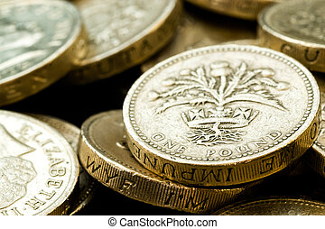 Macro Close Up of Assorted British Pound Coins - Macro...
