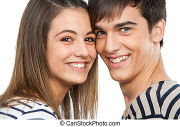 Macro close up of handsome teen couple.