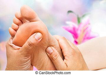 Reflexologist doing massage - Macro close up of ...