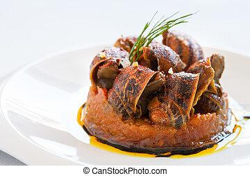 Macro close up of snail starter.