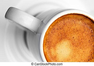half cup of espresso coffee