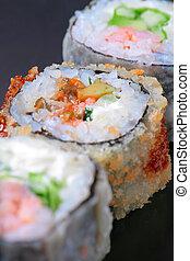 macro, closeup, de, frais, sushi, combinaison, assortiment, sélection, foyer, peu profond, dof
