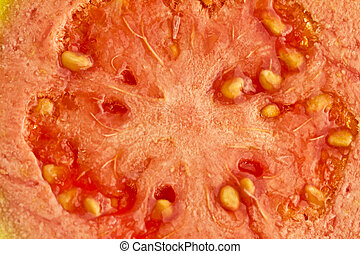 Macro closeup of a guava