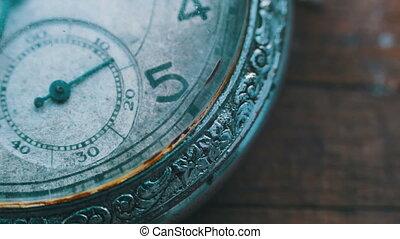 macro closeup of an vintage clock - Vintage pocket watch.Old...