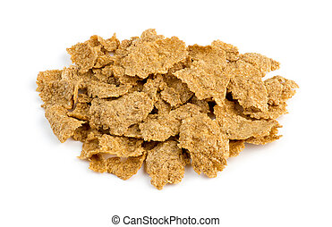 Macro closeup of bran flakes isolated against white