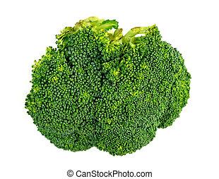 Macro closeup of broccoli floret isolated on white
