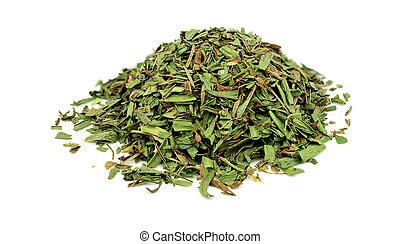 Macro closeup of fresh tarragon herb in pile isolated on white