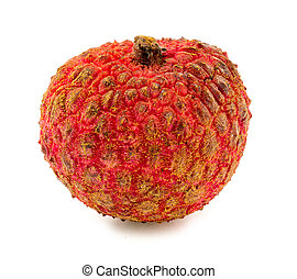 Macro closeup of lychee fruit isolated on white background