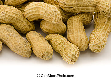 Macro closeup of Peanuts, isolated on white background