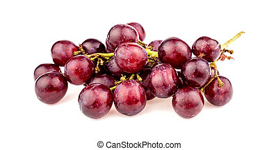 Macro closeup of red grapes on vine isolated