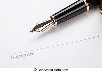 macro closeup sign document contract pen filler white...
