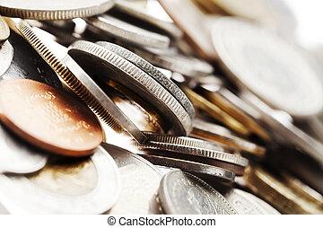macro, coins, plano de fondo