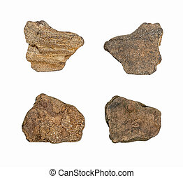 Macro - Collection Rocks isolated on white background