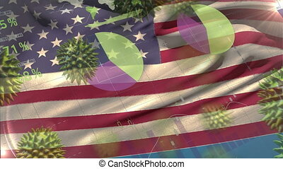 Macro corona virus spreading with American flag billowing in the background