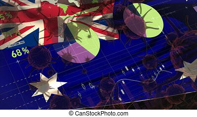 Macro corona virus spreading with Australian flag billowing in the background