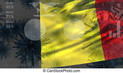 Macro corona virus spreading with Belgian flag billowing in the background