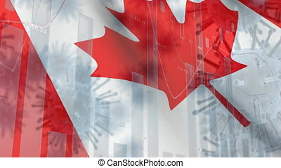 Macro corona virus spreading with Canadian flag billowing in the background