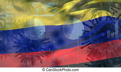 Macro corona virus spreading with Colombian flag billowing in the background