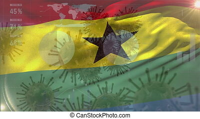 Macro corona virus spreading with Ghanaian flag billowing in the background