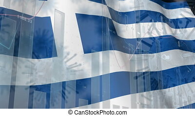 Macro corona virus spreading with Greek flag billowing in the background