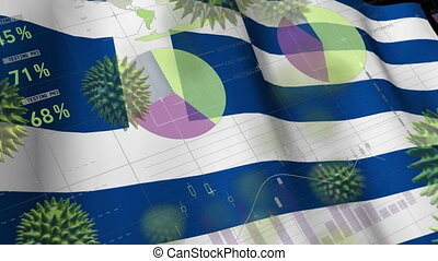 Macro corona virus spreading with Greek flag billowing in ...