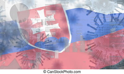 Macro corona virus spreading with Slovakian flag billowing in the background