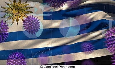 Macro corona virus spreading with Uruguayan flag billowing in the background