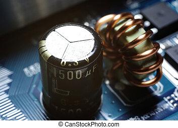 macro, coup, de, a, alimentation énergie, sur, circuit, board.