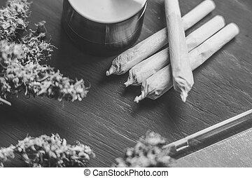macro, de, cannabis, coyuntura, marijuana, mala hierba, flores, con, trichomes, en, cannabis