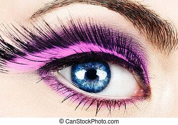 macro, de, ojo, con, falsificación, eyelashes.