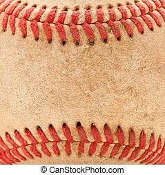 Macro Detail of Worn Baseball - Macro Abstract Detail of...